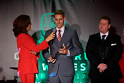CARDIFF, WALES - Monday, October 2, 2017: Wales' David Edwards is interviewed by Francis Donovan after winning the Media Choice Player of the Year Award during the FAW Awards Dinner at the Hensol Castle. (Pic by David Rawcliffe/Propaganda)