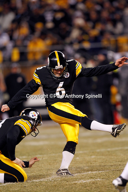 Pittsburgh Steelers place kicker Shaun Suisham (6) kicks a second quarter field goal that gives the Steelers a 10-0 lead during the NFL 2011 AFC Championship playoff football game against the New York Jets on Sunday, January 23, 2011 in Pittsburgh, Pennsylvania. The Steelers won the game 24-19. (©Paul Anthony Spinelli)