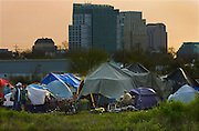 Sacramento's largest homeless encampment is in an area called the Wasteland behind the Blue Diamond Almond Factory. The land is owned by SMUD and has easy access to Loaves & Fishes where they can shower and eat. Photographed on March 17, 2009.