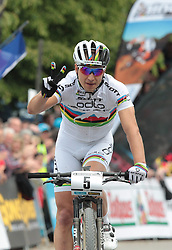 01.06.2014, Bullentaele, Albstadt, GER, UCI Mountain Bike World Cup, Cross Country Herren, im Bild 2 Platz Nino Schurter Schweiz // during Mens Cross Country Race of UCI Mountainbike Worldcup at the Bullentaele in Albstadt, Germany on 2014/06/01. EXPA Pictures © 2014, PhotoCredit: EXPA/ Eibner-Pressefoto/ Langer<br /> <br /> *****ATTENTION - OUT of GER*****