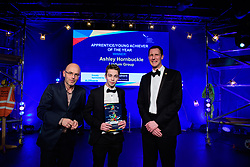 Apprentice/Young Achiever of the Year, sponsored by Quadrant Building Control (QBC).  Winner: Ashley Hornbuckle - Lindum Group.<br /> <br /> Greater Lincolnshire Construction and Property Awards 2018 organised by Lincolnshire Chamber of Commerce and held at The Engine Shed, Lincoln.<br /> <br /> Picture: Chris Vaughan Photography<br /> Date: February 6, 2018