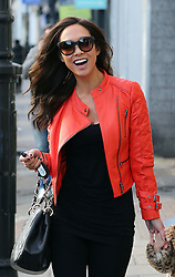 Myleene Klass wearing a bright red leather bikers jacket, black top, leggings and knee high boots out and about with her two daughters Ava and Hero in London, UK. 21/01/2014<br />BYLINE MUST READ : JAMESY/GOTCHA IMAGES<br /><br />Copyright by © Gotcha Images Ltd. All rights reserved.<br />Usage of this image is conditional upon the acceptance <br />of Gotcha Images Ltd, terms and conditions available at<br />www.gotchaimages.com