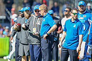 Jan 25, 2019; Kissimmee, FL, USA; Dallas Cowboys head coach Jason Garrett and offensive coordinator Ken Whisenhunt discussing play options during AFC practice for the 2019 Pro Bowl at ESPN Wide World of Sports Complex. (Kim Hukari/Image of Sport)