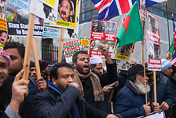 "London, February 10th 2015. Scores of UK Bangladeshis from  Save Bangladesh demonstrate outside Downing Street ahead of handing a letter to David Cameron appealing for him to put pressure on the ruling Awami League to hold free and fair elections and to end ""extra-judicial killings"" and political violence."