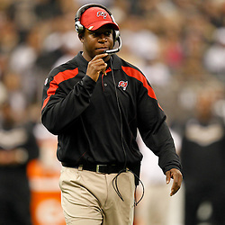 November 6, 2011; New Orleans, LA, USA; Tampa Bay Buccaneers head coach Raheem Morris against the New Orleans Saints during the first quarter of a game at the Mercedes-Benz Superdome. Mandatory Credit: Derick E. Hingle-US PRESSWIRE