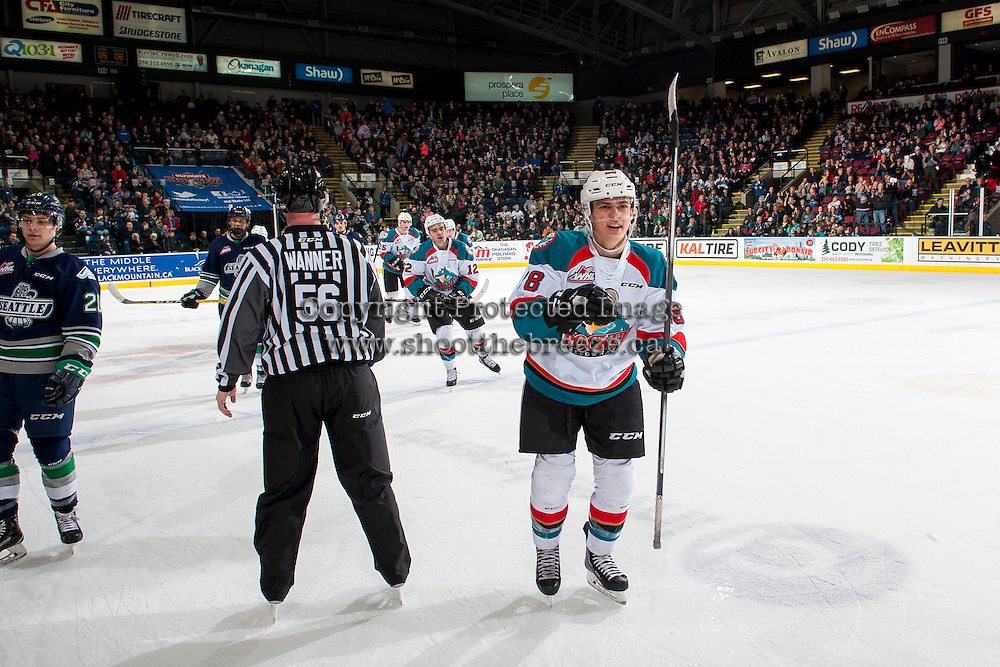 KELOWNA, CANADA - FEBRUARY 13: Leif Mattson #28 of the Kelowna Rockets celebrates the second goal of the first period against the Seattle Thunderbirds on February 13, 2017 at Prospera Place in Kelowna, British Columbia, Canada.  (Photo by Marissa Baecker/Shoot the Breeze)  *** Local Caption ***