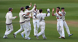 Somerset's Lewis Gregory celebrates the wicket of Middlesex's Nick Compton. - Photo mandatory by-line: Harry Trump/JMP - Mobile: 07966 386802 - 29/04/15 - SPORT - CRICKET - LVCC Division One - County Championship - Somerset v Middlesex - Day 4 - The County Ground, Taunton, England.