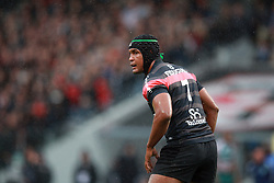 Thierry Dusautoir during the Heineken Cup match between Stade Toulouse and Leicester Tigers at Stade Municipal on October 14, 2012 in Toulouse, France.  Eoin Mundow/Cleva Media