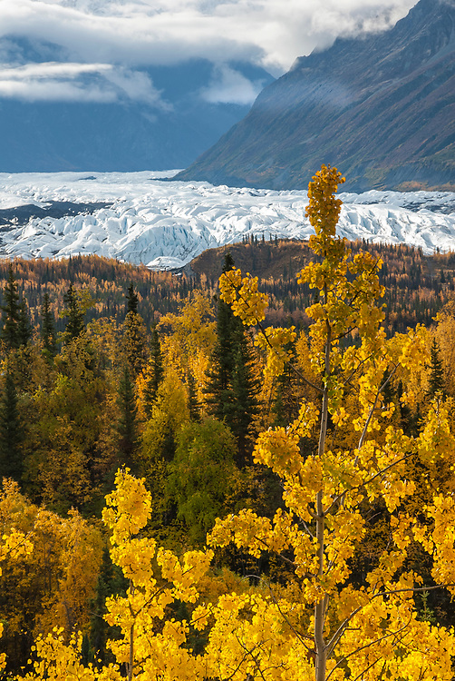The breathtaking view of Alaska's intricate glacial landscape in the fall.