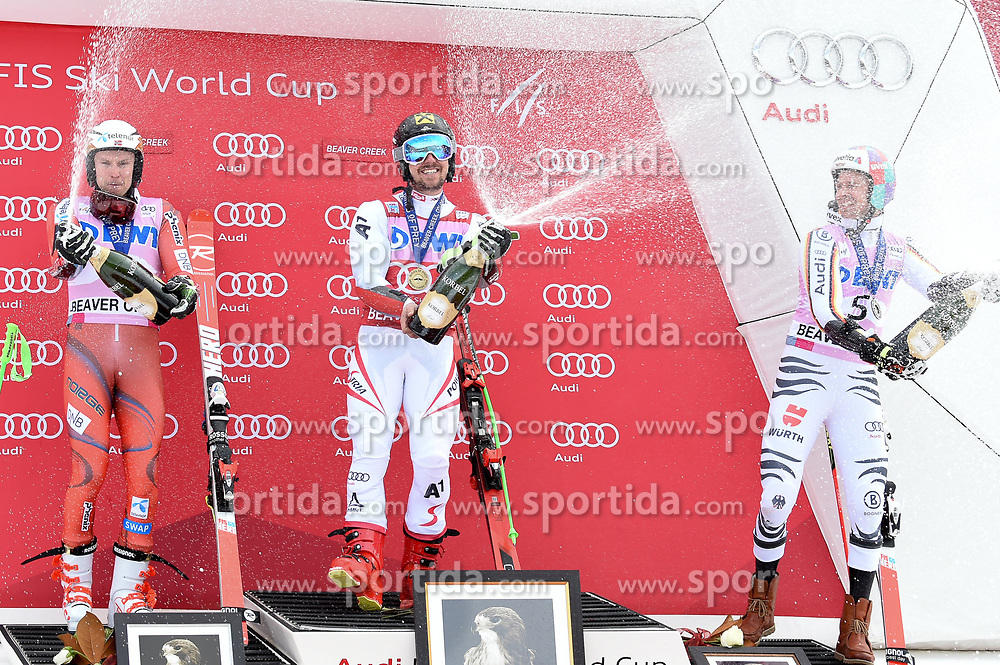 03.12.2017, Beaver Creek, USA, FIS Weltcup Ski Alpin, Beaver Creek, Riesenslalom, Herren, Siegerehrung, im Bild Henrik Kristoffersen (NOR, 2. Platz), Sieger Marcel Hirscher (AUT), Stefan Luitz (GER, 3. Platz) // 2nd placed Henrik Kristoffersen of Norway Winner Marcel Hirscher of Austria 3rd placed Stefan Luitz of Germany during the winner Ceremony for the men's Giant Slalom of FIS Ski Alpine World Cup at the Beaver Creek, United Staates on 2017/12/03. EXPA Pictures © 2017, PhotoCredit: EXPA/ Erich Spiess