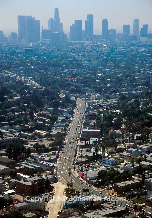 SUNSET BLVD 1998-2001 Sunset Blvd aerial view looking towards Downtown Los Angeles skyline ©Jonathan Alcorn