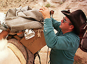 07 AUGUST 2000 - SUPAI, AZ: Charlie Chamberlain secures a load of US mail to a mule in the parking lot eight miles above the village of Supai on the Havasupai Indian reservation in northern Arizona, Aug. 7. There are no roads or rail service into Supai, a village of 600 people on the floor of the Grand Canyon, west of the Grand Canyon National Park, so the mail is delivered by mule train. The wranglers who lead the mules down to the village haul everything from letters and postcards to fresh produce and refrigerated foods. The mail is hauled down the steep mountain slopes five days a week rain or shine. It normally takes about three hours to haul the mail down. The mule wranglers are self employed contractors and have to provide all of their own mules and equipment. Although the muletrain delivery of the mail is unusual, the Postal Service uses whatever mean necessary to deliver the mail, including sled dogs in Alaska and boats in other areas. Because of budget shortfalls, the US Postal Service is threatening to close the post office in Supai.   PHOTO BY JACK KURTZ