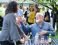 Joanne Lynch speaks with To James, both of Doylestown, Pennsylvania during the start of Doylestown Art Days at the Doylestown Historical Society Thursday June 4, 2015 in Doylestown, Pennsylvania.  (Photo by William Thomas Cain/Cain Images)