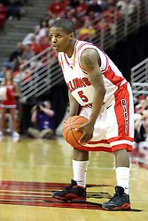 "12 January 2008: Keith ""Boo"" Richardson during a game in which  the Purple Aces of the University of Evansville lost to  the Redbirds of Illinois State on Doug Collins Court at Redbird Arena in Normal Illinois by a score of 74-66."