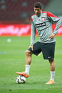 Poland's Robert Lewandowski stands while warm-up during official training one day before the EURO 2016 qualifying match between Poland and Germany on October 10, 2014 at the National stadium in Warsaw, Poland<br /> <br /> Picture also available in RAW (NEF) or TIFF format on special request.<br /> <br /> For editorial use only. Any commercial or promotional use requires permission.<br /> <br /> Mandatory credit:<br /> Photo by © Adam Nurkiewicz / Mediasport