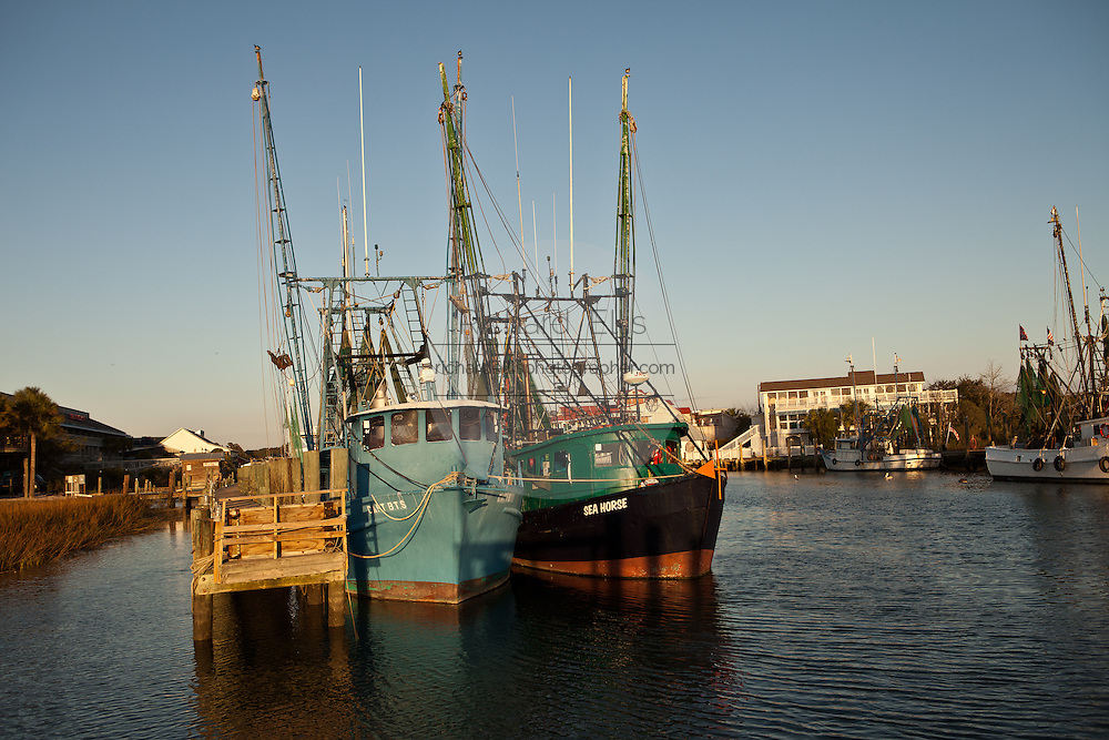 Shrimp boats docked in Shem Creek, Mt Pleasant, SC across the harbor from Charleston.