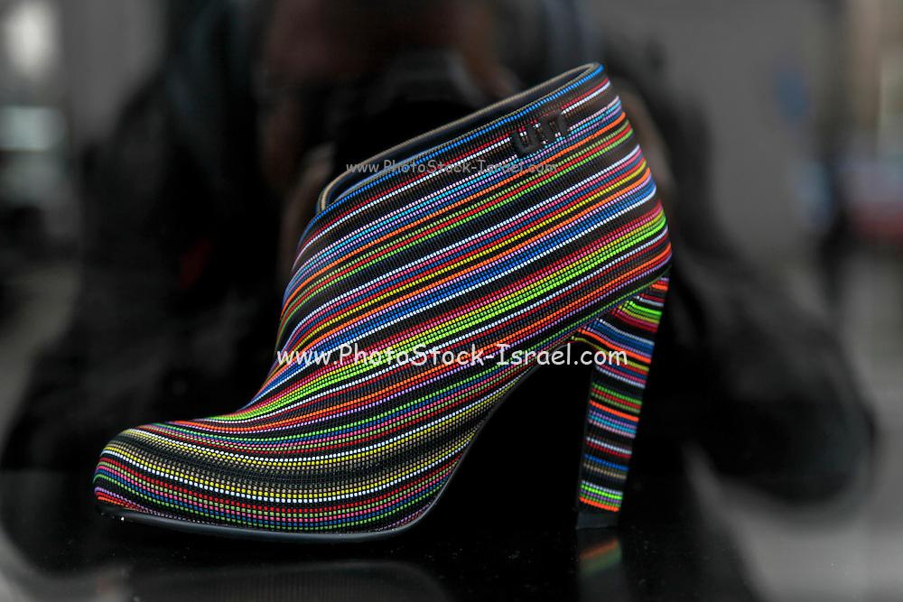 Woman's Shoe on display in a shop window. Gdansk, Poland