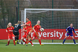 NEWPORT, WALES - Friday, April 1, 2016: Republic of Ireland's Louise Masterson scores the second goal against Wales during Day 1 of the Bob Docherty International Tournament 2016 at Dragon Park. (Pic by David Rawcliffe/Propaganda)