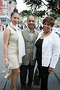 July 24, 2012-New York, NY:  (L-R) Actress/Vocalist Knoelle Higgensen, Publisher Jeff Burns, and Producer/Radio Personality Vy Higginsen attend the official Slyvia Woods Harlem Community memorial and send off through the streets of Harlem. Sylvia Woods was an American restaurateur who co-founded the landmark restaurant Sylvia's in Harlem on Lenox Avenue, New York City with her husband, Herbert Woods, in 1962. (Photo by Terrence Jennings)