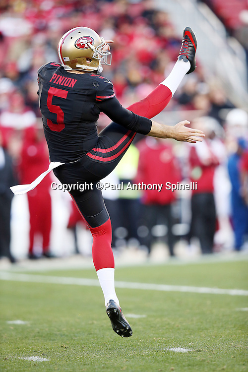 San Francisco 49ers punter Bradley Pinion (5) punts the ball in the fourth quarter during the 2015 week 12 regular season NFL football game against the Arizona Cardinals on Sunday, Nov. 29, 2015 in Santa Clara, Calif. The Cardinals won the game 19-13. (©Paul Anthony Spinelli)