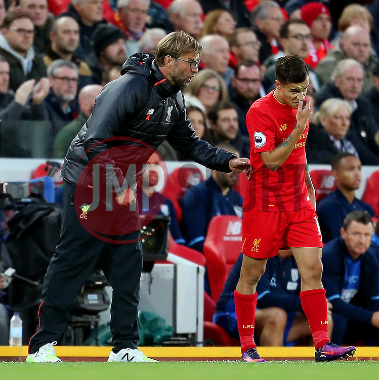 Liverpool manager Jurgen Klopp gives instructions to Philippe Coutinho - Mandatory by-line: Matt McNulty/JMP - 22/10/2016 - FOOTBALL - Anfield - Liverpool, England - Liverpool v West Bromwich Albion - Premier League