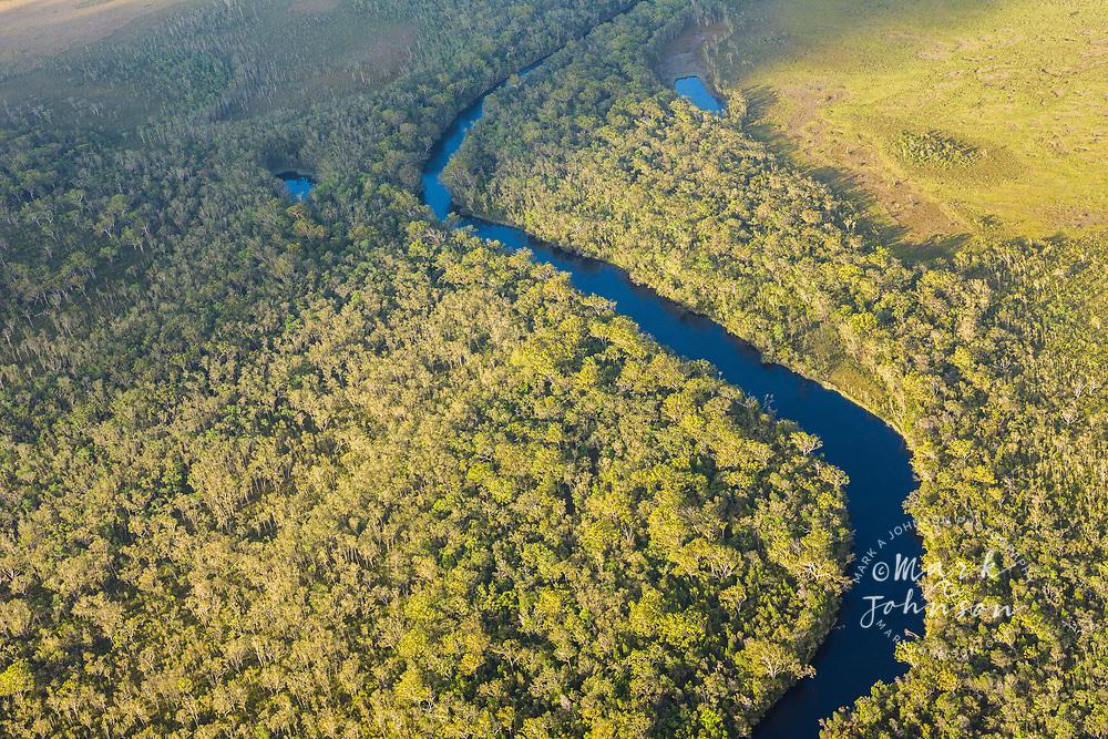 Aerial photograph of the Noosa River, Great Sandy National Park, Sunshine Coast, Queensland, Australia