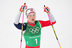 February 17, 2018 - Pyeongchang, SOUTH KOREA - 180217 Astrid Uhrenholdt Jacobsen of Norway looks dejected after competing in the WomenÃ•s Cross Country Skiing 4x5 km Relay during day eight of the 2018 Winter Olympics on February 17, 2018 in Pyeongchang..Photo: Petter Arvidson / BILDBYRN / kod PA / 87632 (Credit Image: © Petter Arvidson/Bildbyran via ZUMA Press)