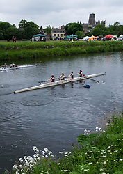 © Licensed to London News Pictures.13/06/15<br /> Durham, England<br /> <br /> Rowing boat crews race each other during the 182nd Durham Regatta rowing event held on the River Wear. The origins of the regatta date back  to commemorations marking victory at the Battle of Waterloo in 1815. This is the second oldest event of this type in the country and attracts over 2000 competitors from across the country.<br /> <br /> Photo credit : Ian Forsyth/LNP