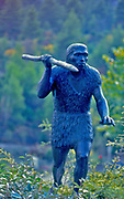 France, Languedoc and Roussillon.  Tautavel, Statue Neolithic Man.