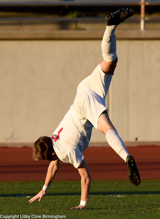 Glendora's Sebastian Occhiato does a cartwheel after scoring the first goal in the first half of a first round CIF soccer prep soccer match against Colony at Citrus College in Glendora, Calif., on Friday, Feb. 16, 2018. (Photo by Libby Cline Birmingham)