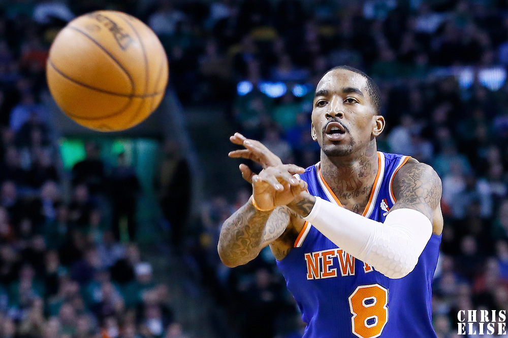 24 January 2013: New York Knicks shooting guard J.R. Smith (8) passes the ball during the New York Knicks 89-86 victory over the  at the TD Garden, Boston, Massachusetts, USA.