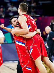 Vasilje Micic of Serbia and Bogdan Bogdanovic of Serbia celebrate after winning during basketball match between National Teams of Russia and Serbia at Day 16 in Semifinal of the FIBA EuroBasket 2017 at Sinan Erdem Dome in Istanbul, Turkey on September 15, 2017. Photo by Vid Ponikvar / Sportida
