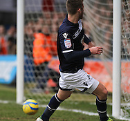Picture by David Horn/Focus Images Ltd +44 7545 970036.16/02/2013.James Henry of Millwall scores his side's first goal during the The FA Cup match at Kenilworth Road, Luton.