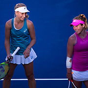 August 30, 2017 - New York, NY : Daria Gavrilova, in blue at left, chats with Allie Kiick, in pink, after Gavrilova defeated Kiick in the Grandstand on the third day of the U.S. Open, at the USTA Billie Jean King National Tennis Center in Queens, New York, on Wednesday. <br /> CREDIT : Karsten Moran for The New York Times