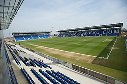 COLCHESTER, ENGLAND - Saturday, April 24, 2010: Colchester United's Western Community Stadium gets ready for the match against Tranmere Rovers in the Football League One match. (Photo by Gareth Davies/Propaganda)