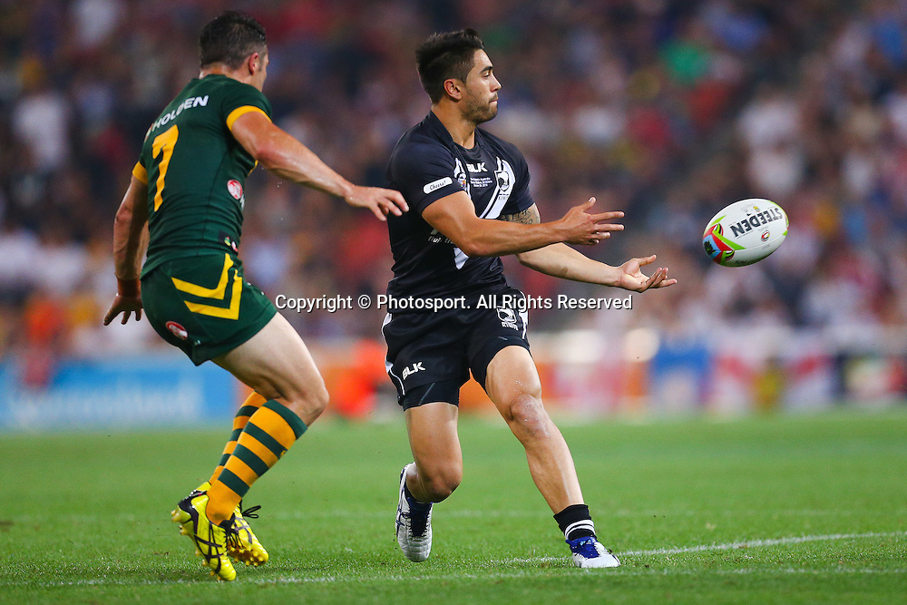Shaun Johnson gets a pass away during the Four Nations test match between Australia and New Zealand at Suncorp Stadium,  Brisbane Australia on October 25, 2014.