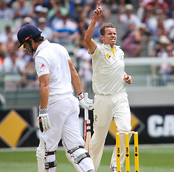 © Licensed to London News Pictures. 26/12/2013. Peter Siddle celebrates after getting the wicket of Alastair Cook during the Ashes Boxing Day Test Match between Australia Vs England at the MCG on 26 December, 2013 in Melbourne, Australia. Photo credit : Asanka Brendon Ratnayake/LNP