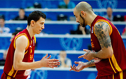 Vlado Ilievski and Pero Antic of Macedonia during basketball game between National basketball teams of  Georgia and Former Yugoslav Republic of Macedonia at FIBA Europe Eurobasket Lithuania 2011, on September 8, 2011, in Siemens Arena,  Vilnius, Lithuania. Macedonia defeated Georgia 65-63. (Photo by Vid Ponikvar / Sportida)
