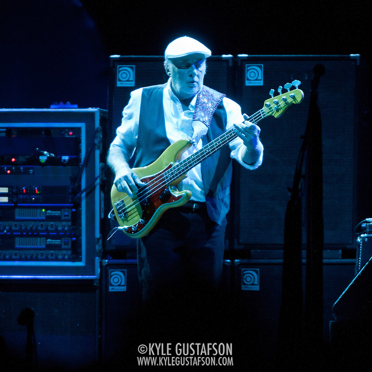 """WASHINGTON, DC - April 9th  2013 -  John McVie of Fleetwood Mac performs at the Verizon Center in Washington, D.C. during the band's 2013 World Tour. Fleetwood Mac, touring for the first time since 2009, is including two new songs in their setlist, """"Sad Angel"""" and """"Without You."""" (Photo by Kyle Gustafson/For The Washington Post)"""