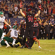 22 September 2018: San Diego State Aztecs tight end Shane Coleman (91) celebrates after  place kicker John Baron II hit a game winning 38 yard field goal in overtime. The San Diego State Aztecs beat the Eastern Michigan Eagles 23-20 in over time at SDCCU Stadium in San Diego, California.