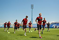 OSIJEK, CROATIA - Friday, June 7, 2019: Wales' Ben Williams (R), Joe Rodon (C) and Dylan Levitt (L) during a training session at Stadion Gradski vrt ahead of the UEFA Euro 2020 Qualifying Group E match against Croatia. (Pic by David Rawcliffe/Propaganda)