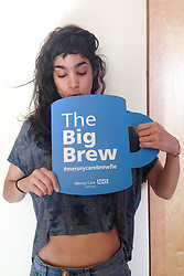 "© Licensed to London News Pictures . 19/01/2015 . Liverpool , UK . Dancer and actress Sofia Boutella . Celebrities pose with "" Big Brew "" placards in support of mental health awareness as today (19th January 2015) marks "" Blue Monday "" , the day regarded by many as the most depressing in the year . Campaigners are urging the public to show support by tweeting sefies with their favourite brew and the hashtag "" #brewfie "" . In London , Deputy Prime Minister Nick Clegg , is announcing his campaign to improve mental health awareness , reduce stigma and promote a "" zero ambition "" target for suicide . Photo credit : Joel Goodman/LNP"