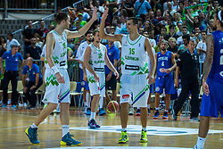 Uros Slokar and Jure Balazic of Slovenia during friendly basketball match between National teams of Slovenia and Italy at day 3 of Adecco Cup 2015, on August 23 in Koper, Slovenia. Photo by Grega Valancic / Sportida