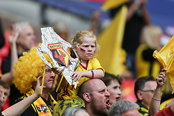 A Watford fan with a tin foil fa cup trophy - Mandatory by-line: Arron Gent/JMP - 18/05/2019 - FOOTBALL - Wembley Stadium - London, England - Manchester City v Watford - Emirates FA Cup Final