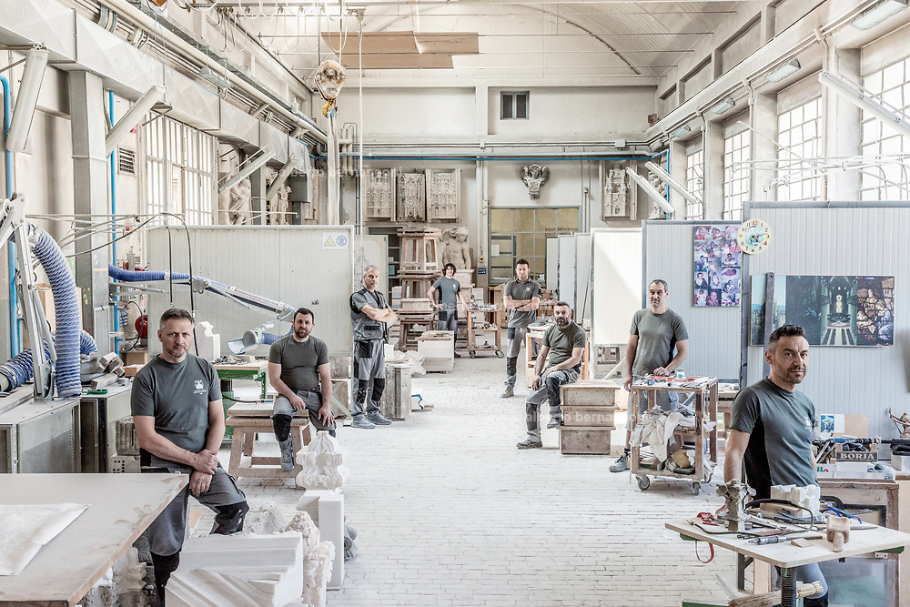 Milan, La Veneranda Fabbrica del Duomo. this is the place where deteriored parts of the Milan Duomo are stocked and remade as new by local artisan