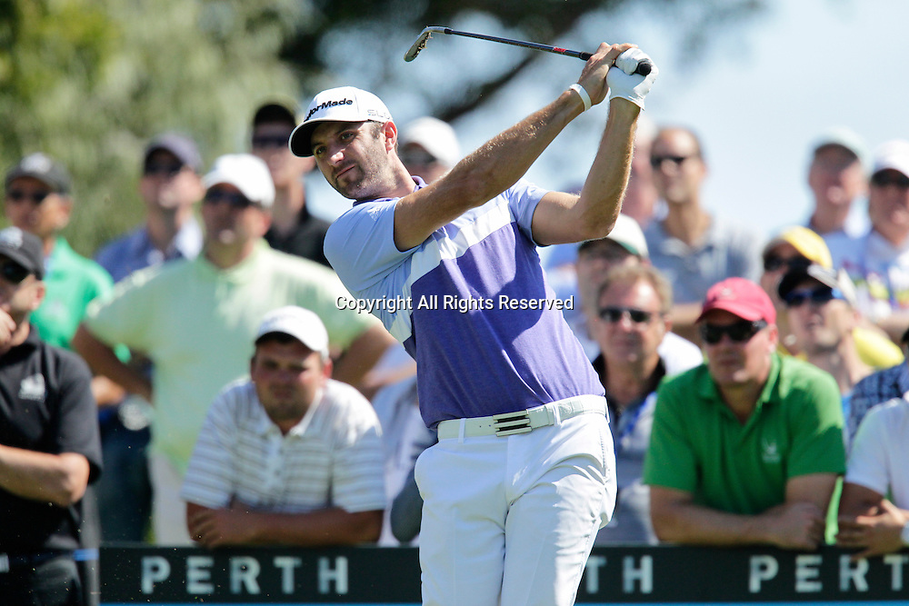 18.10.2013 Perth, Australia. Dustin Johnson (USA) drives from the 12th tee during day 2 of the ISPS Handa Perth International Golf Championship from the Lake Karrinyup Country Club.