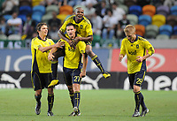 20100819: LISBON, PORTUGAL - Sporting Lisbon vs Brondby: UEFA Europa League 2010/2011 Play-Offs - First Leg. In picture:  Jan Kristiansen (Brondby, #27) celebrating goal with team mates. PHOTO: Alexandre Pona/CITYFILES