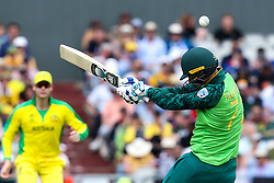 Rassie van der Dussen of South Africa is hit on the helmet - Mandatory by-line: Robbie Stephenson/JMP - 06/07/2019 - CRICKET - Old Trafford - Manchester, England - Australia v South Africa - ICC Cricket World Cup 2019 - Group Stage