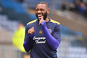 Shrewsbury Town striker Lenell John-Lewis (14) laughing during the EFL Sky Bet League 1 match between Oxford United and Shrewsbury Town at the Kassam Stadium, Oxford, England on 7 December 2019.