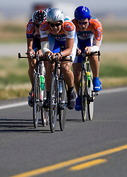 The University of Florida team of Chris Keane, Alexander Gil, Shawn Gravois, and Bobby Sweeting competes in the men's division 1 race.  The 2008 USA Cycling Collegiate National Championships Team Time Trial event was held near Wellington, CO on May 9, 2008.  Teams of 3 or 4 riders raced over a 20km out and back course that ran along a service road to Interstate 25.